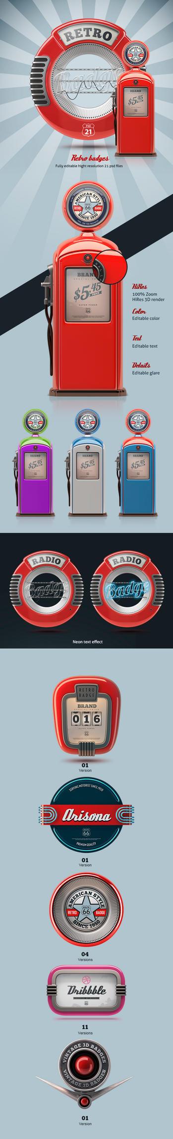 3D retro badges by TIT0