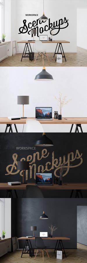 Interior workspace mockup