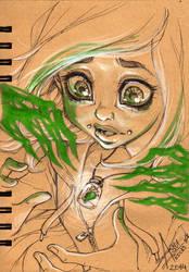InkTober 14 - Rhona's Transformation Part 1 by bewareitbites