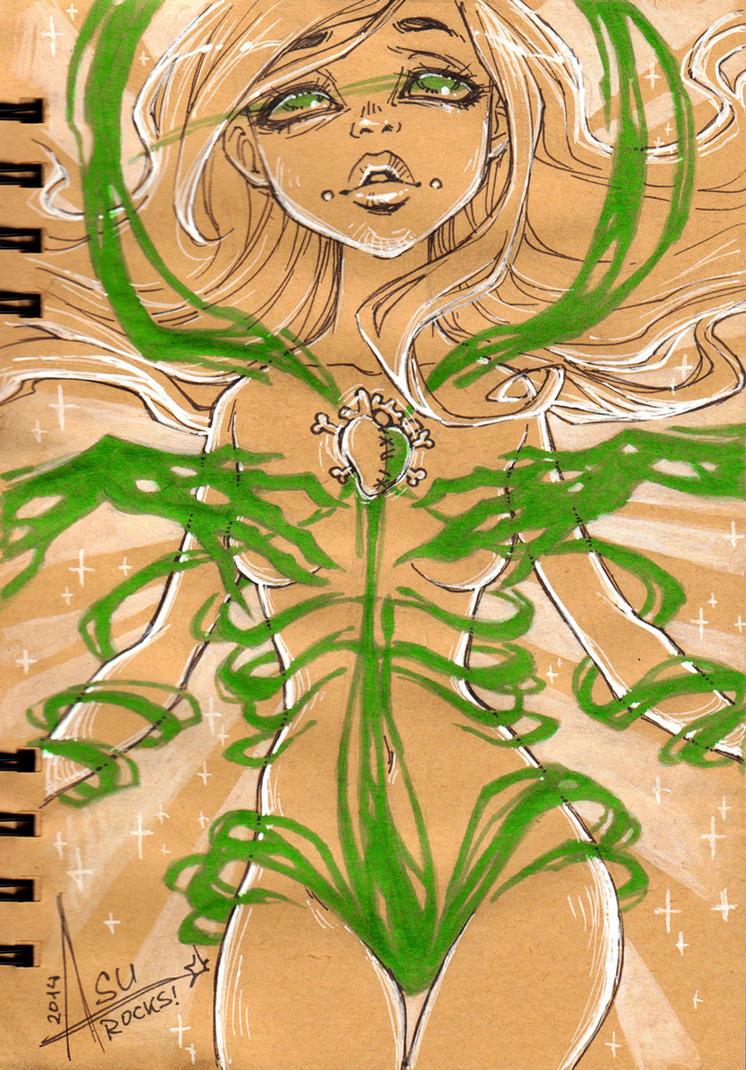 InkTober 15 - Rhona's Transformation Part 2 by bewareitbites