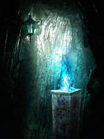 Ice cavern stock - Premade background by YaensArt