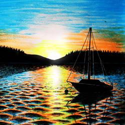 Sunrise by the Lake by Lenka-Slukova