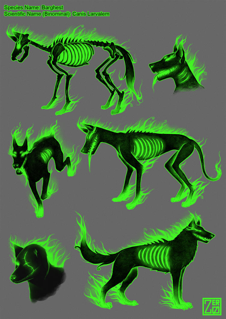 Creature concept sheet: barghest by zero0810