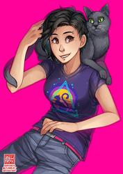 C - halfbody + cat by zero0810