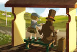Layton and Luke at the Busstop