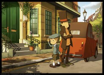 Luke and Layton in London