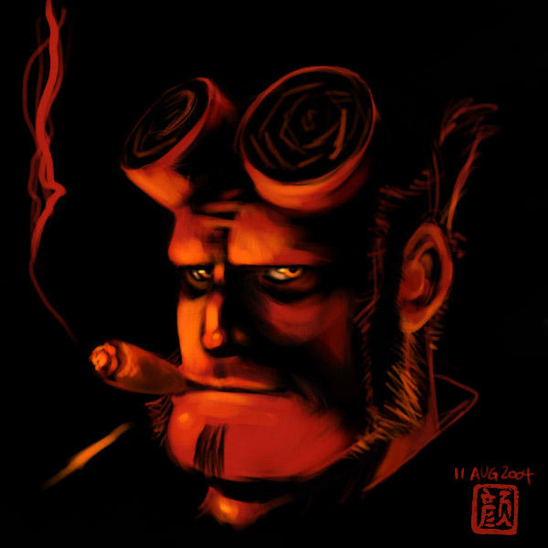 Cigar Hellboy by wredwrat