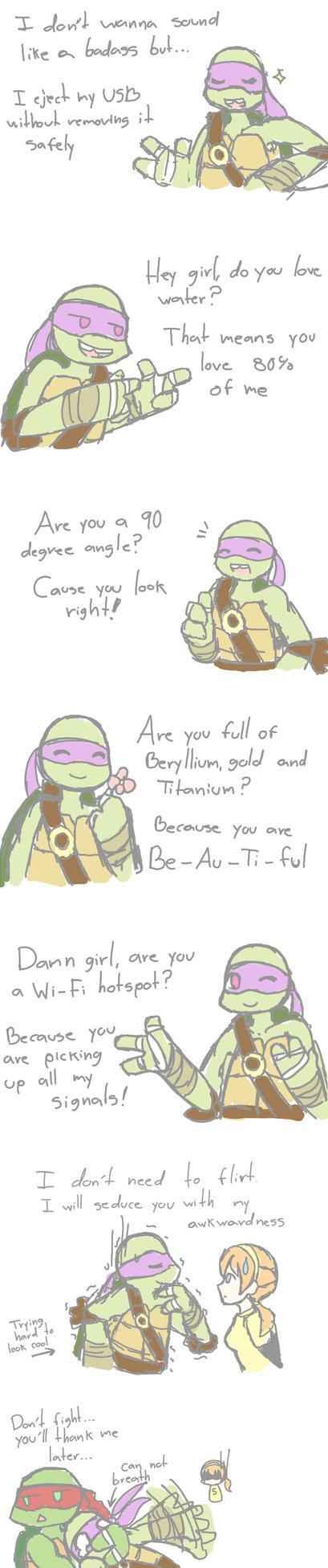 Donnie's nerdy flirting. by Neko-mirichan