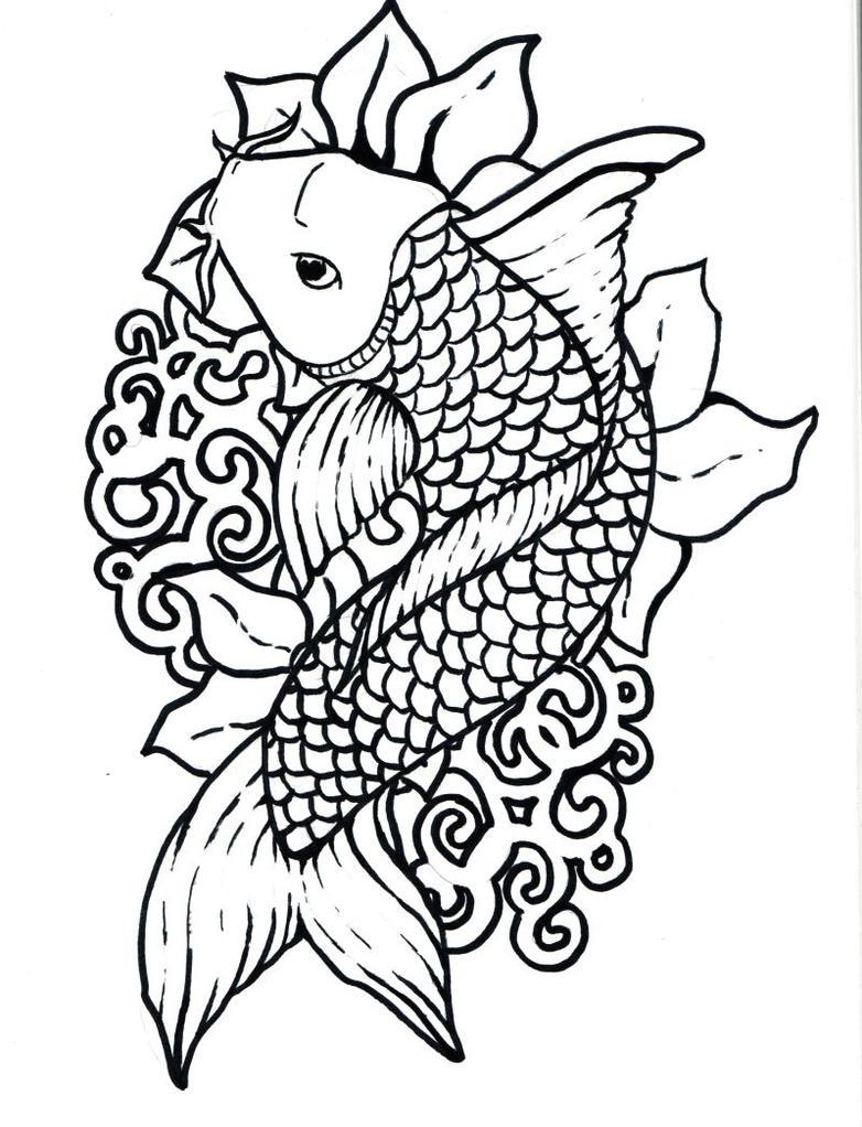 Stock vector koi carp tattoo klemens 39 s blog for Koi fish outline