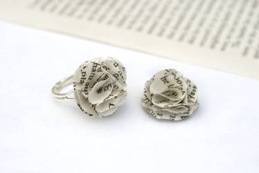 Book Page Flower Ring