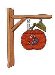 SD Hanging Apple Wooden Sign by Karnanyd