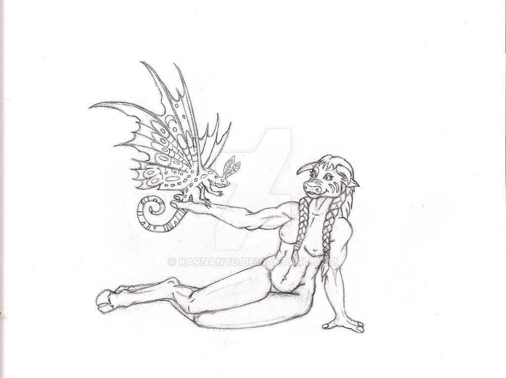 Kash Sketch WIP Nude by Karnanyd