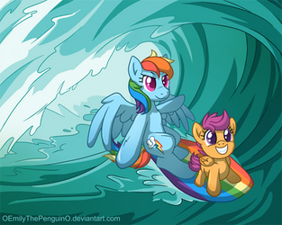 Surfing Across Equestria by Oomles