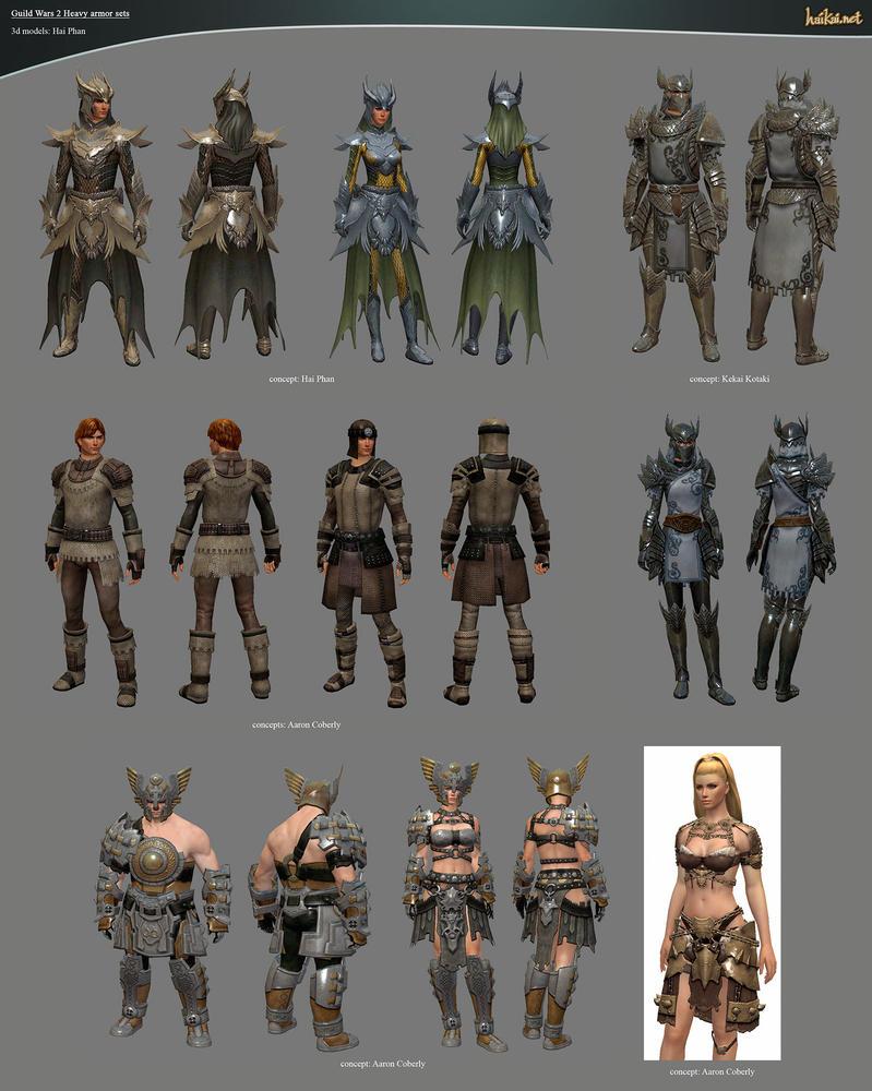 Guild Wars 2 Heavy Armor Sets by haikai13