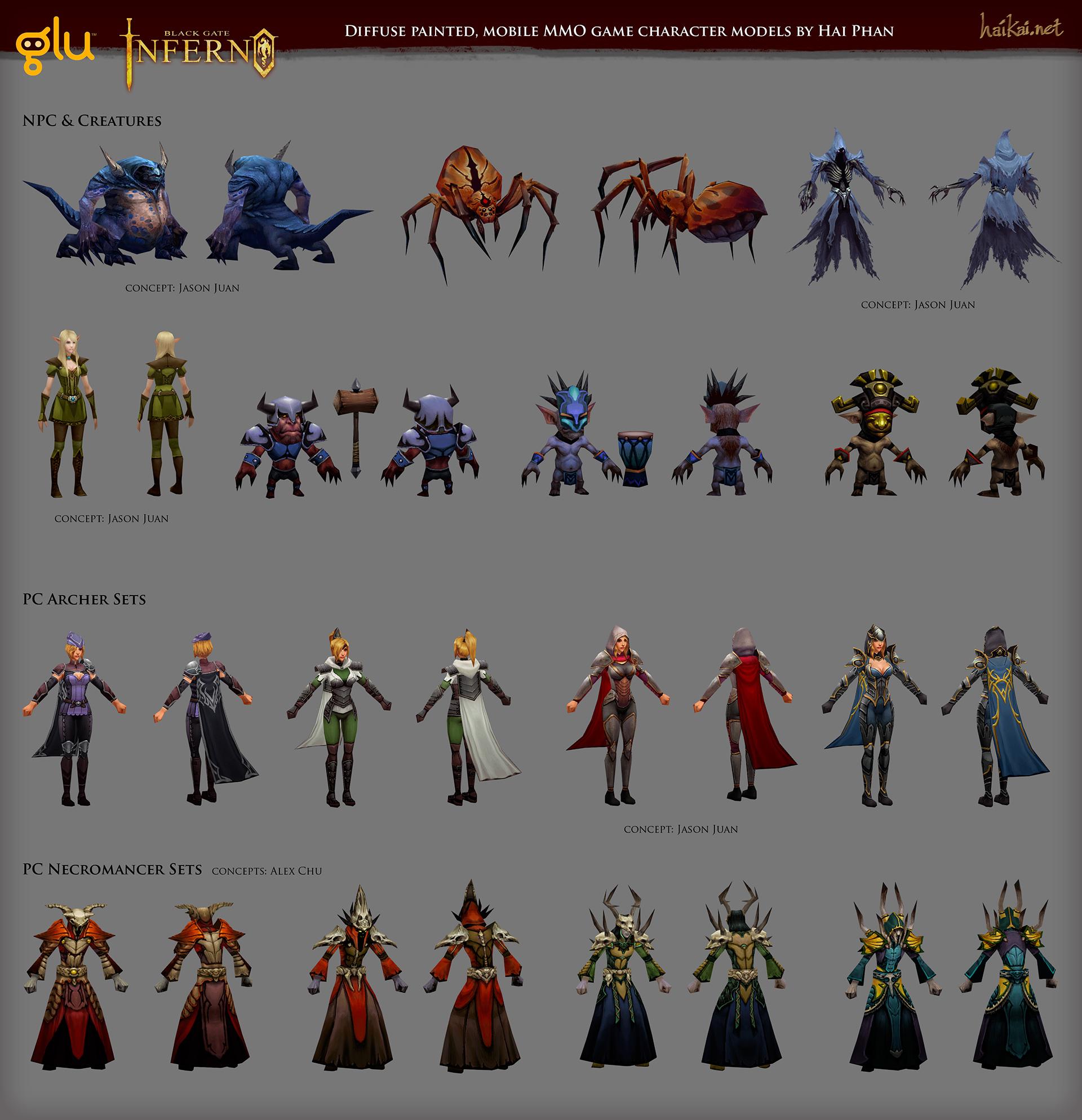 Black Gate: Inferno character models by haikai13