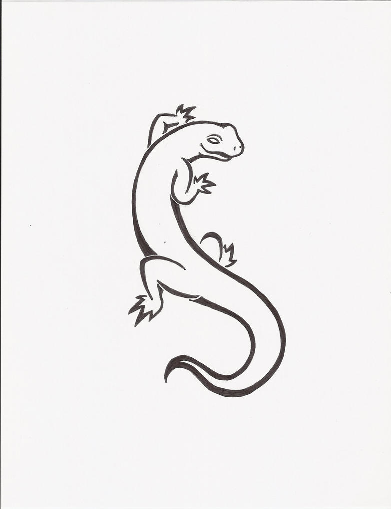 Tribal salamander tattoo by rorirogers on deviantart for Small art drawings