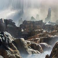 Waterfall Ruins Photobash by Aerozopher
