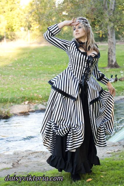 Striped Rococo Dress by DaisyViktoria