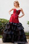 Red and Black Ruffled Gown