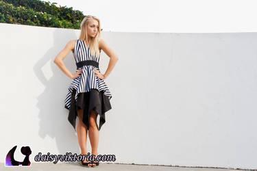 Black and White Striped Dress by DaisyViktoria