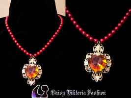 Red Beaded Necklace with Heart Gem by DaisyViktoria