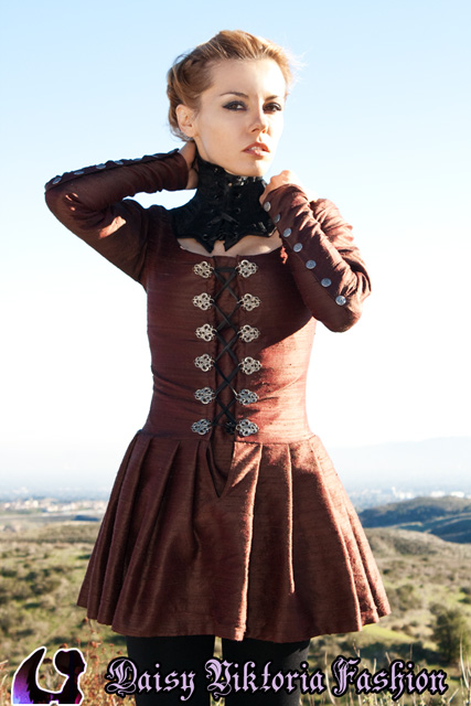 Silk Dress With Metal Lacers and Neck Corset by DaisyViktoria