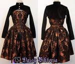 Taffeta Damask Dress With Velvet Shrug
