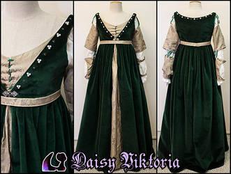 Green Velvet Italian Renaissance Gown by DaisyViktoria