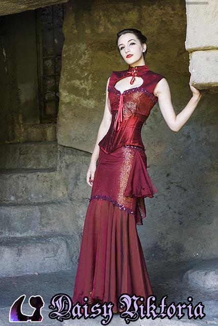 Red Mermaid Gown by DaisyViktoria