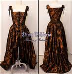 Flocked Taffeta Damask Steampunk Gown