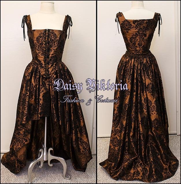 Flocked Taffeta Damask Steampunk Gown by DaisyViktoria