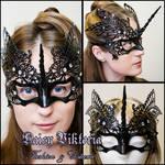 Black Venetian Filigree Unicorn Mask by DaisyViktoria