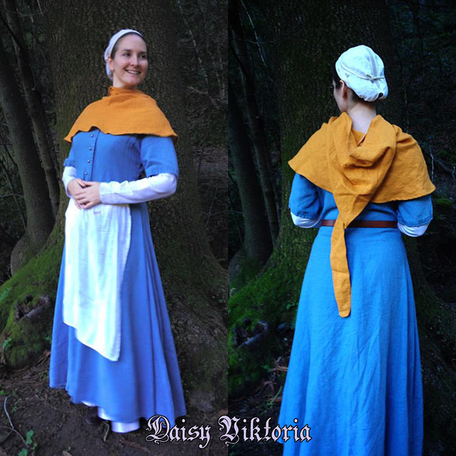 Medieval Lady - Gold Linen Hood by DaisyViktoria