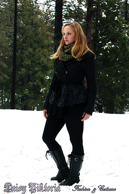 Wool and Lace Coat in the Snow by DaisyViktoria