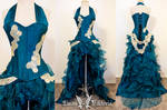 Teal Corset Ruffle Gown