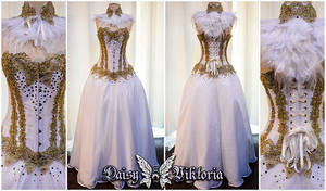 Gold and White Owl Queen Ballgown