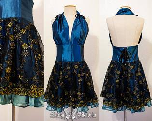Blue Taffeta and Sparkling Lace Halter Dress by DaisyViktoria
