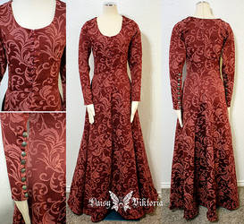 Red Brocade Medieval Kirtle or Gothic Fitted Gown by DaisyViktoria