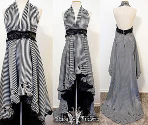 Black and White Striped Halter Gown by DaisyViktoria