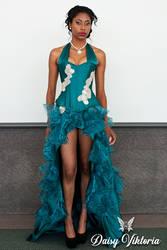 Teal Princess Ruffled Corset Gown by DaisyViktoria