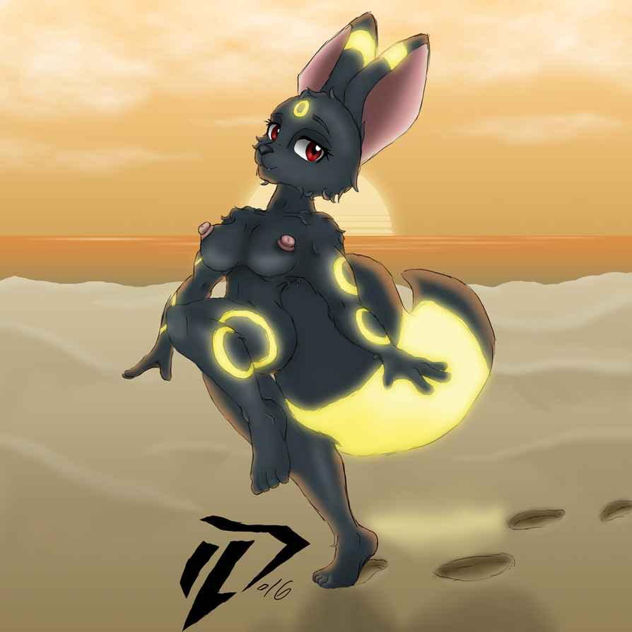Rough Anthro Umbreon - 20160821 by Devil-D-IND