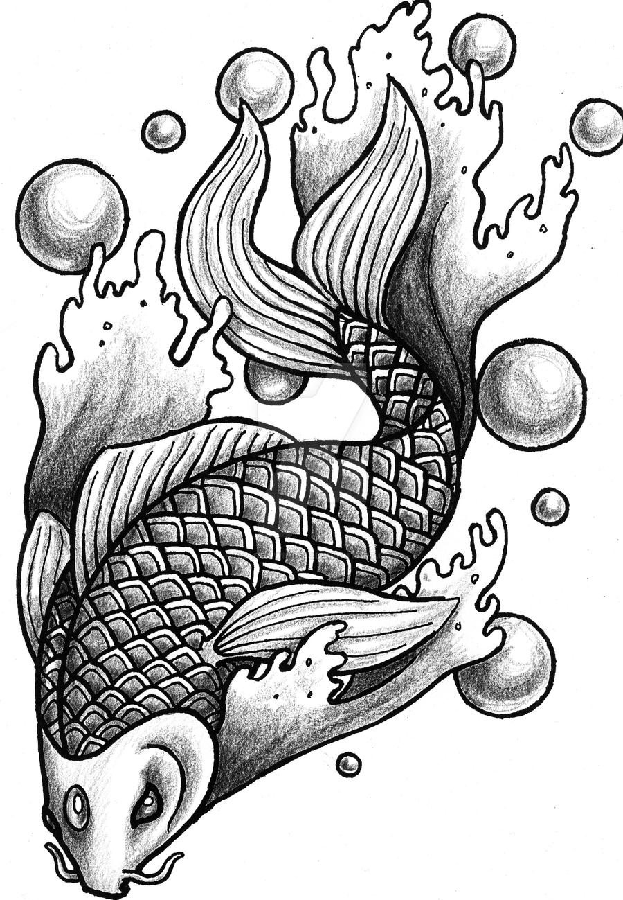 Koi black and white by dragonwings13 on deviantart for Black and white coy fish
