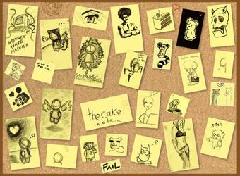 sticky notes on a cork board by Piro-Man