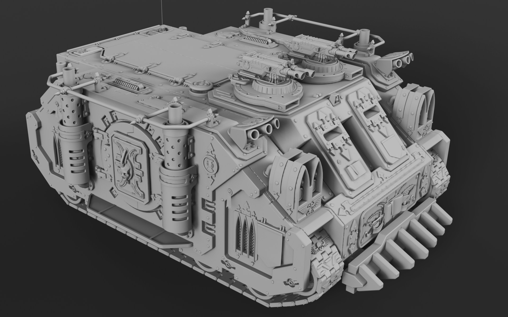 Wh40K Deimos Pattern Rhino (Mk1C) Clay Render 1 by SerpentTheGreen