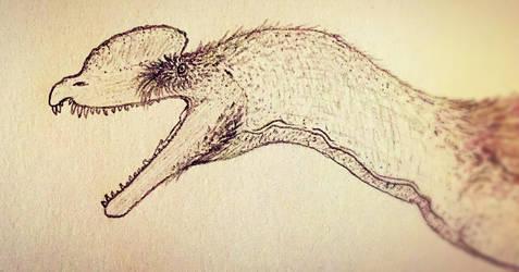 Dilophosaurus headshot by Toarcian