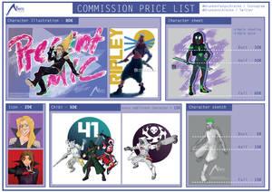Commission Pricelist