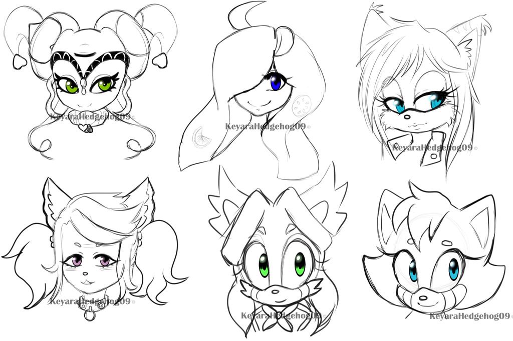 F Head sketches by KeyaraHedgehog09