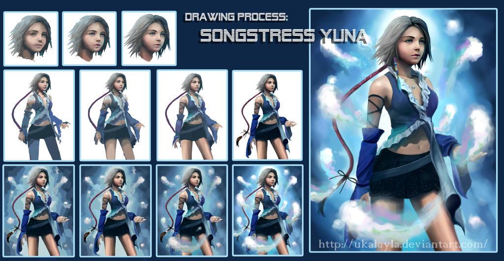 Drawing Process: Songstress Yuna by ukalayla