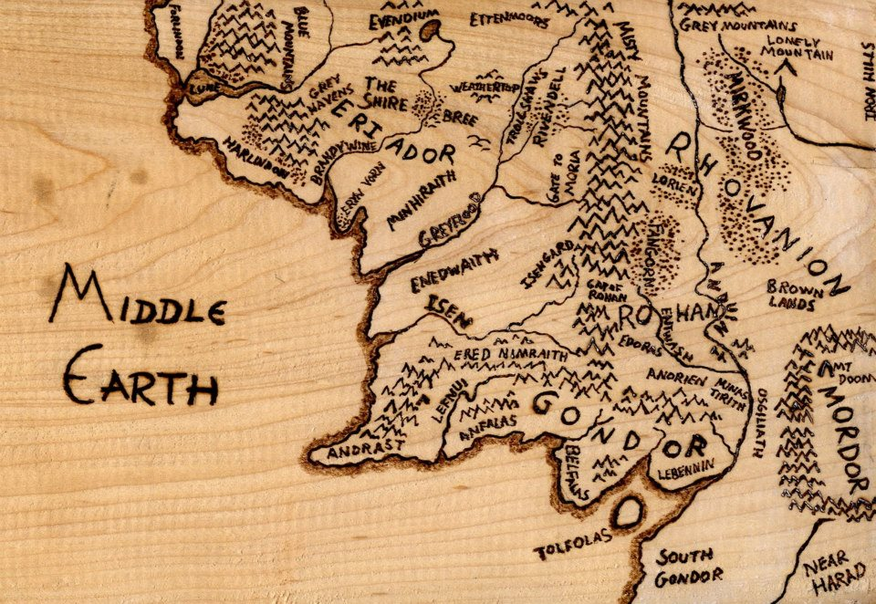 wood burned middle earth map by thetoastybadger