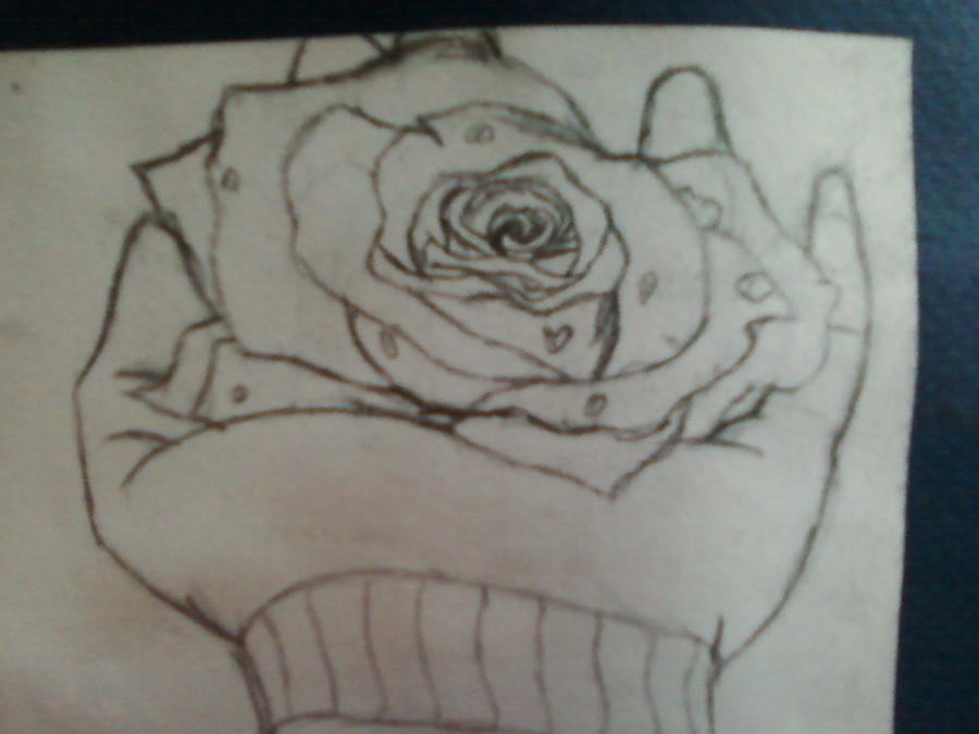 Hand Holding Rose Drawing Gloved Hand Holding Rose Head